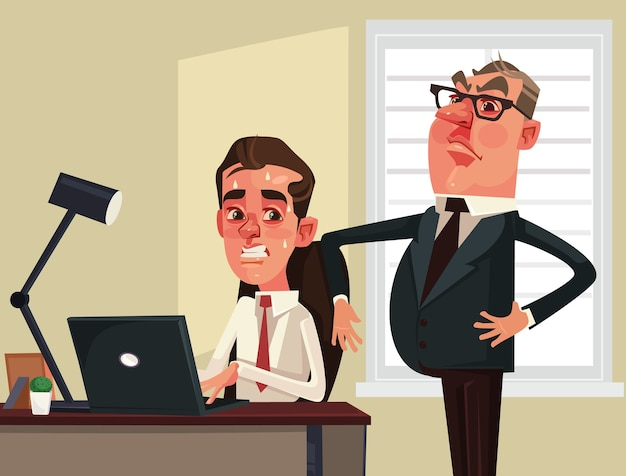 Uomo d'affari rigoroso del capo che guarda il carattere spaventato dell'operaio dei dipendenti illustrazione di cartone animato piatto