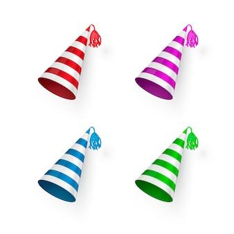 Set di cappelli di compleanno a strisce