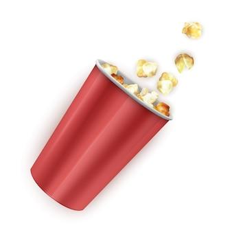 Ciotola di cartone a strisce piena di popcorn, sacchetto pieno di popcorn. illustrazione realistica,