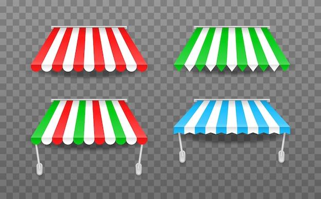 Tende da sole colorate a strisce per l'illustrazione del negozio