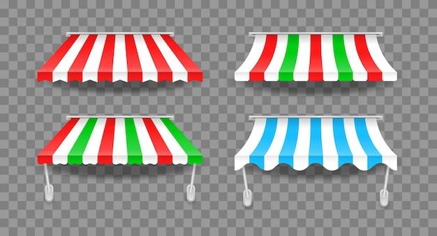 Tende colorate a righe per negozio Vettore Premium