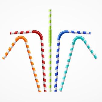 Set di cannucce colorate a strisce