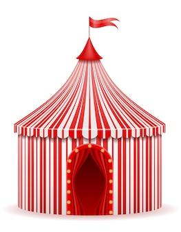 Tenda da circo rossa a strisce su bianco