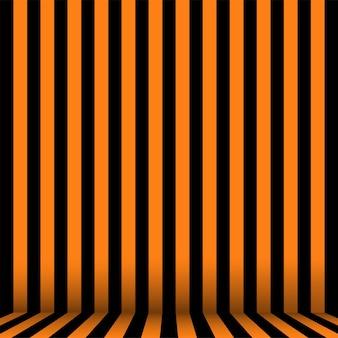 Stanza a strisce in arancione e nero per halloween. vettore