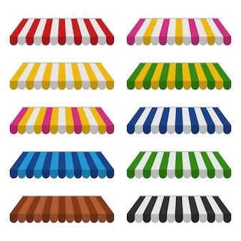 Set di tende da sole a righe per negozi e ristoranti di strada