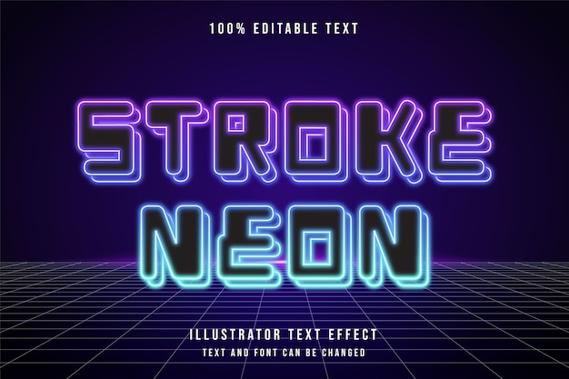 Tratto al neon, effetto di testo modificabile 3d viola sfumato rosa blu effetto stile neon