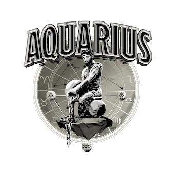Vettore strologico disegnato a mano romantico bella linea arte dello zodiaco acquario illustration Vettore Premium