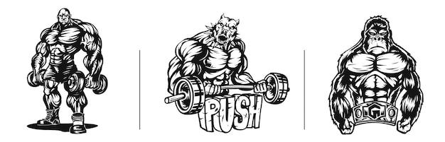 Il forte bulldog del cane dell'atleta esegue un esercizio con il tatuaggio del bicipite del bilanciere e il disegno della maglietta