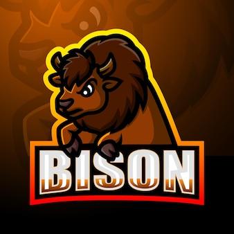 Forte design del logo esport della mascotte del bisonte