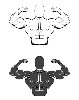 Uomo forte bodybuilder con addominali perfetti, spalle, bicipiti, tricipiti e petto che flette i muscoli.