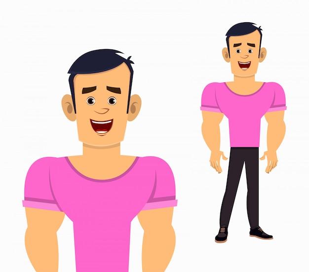 Illustrazione forte di vettore di posa diritta del personaggio dei cartoni animati del ragazzo per la vostra progettazione, moto o animazione