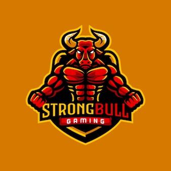 Logo di gioco del toro forte