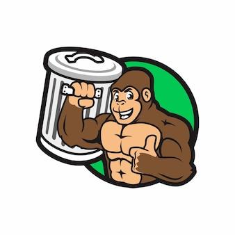 Forte gorilla lift bidone della spazzatura