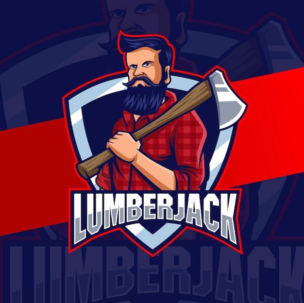 Forte disegno del logo della mascotte del personaggio del boscaiolo con l'ascia per l'uomo e il design del logo del gioco