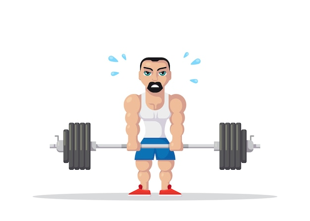 Atleta uomo forte facendo esercizio di stacco in palestra. concetto di allenamento in palestra. design del personaggio in stile piatto.