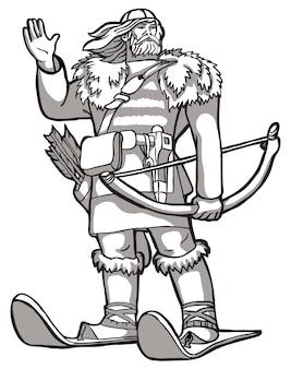Uomo forte sugli sci disegno in bianco e nero