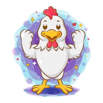 Forte gallo in piedi e che mostra un buon corpo
