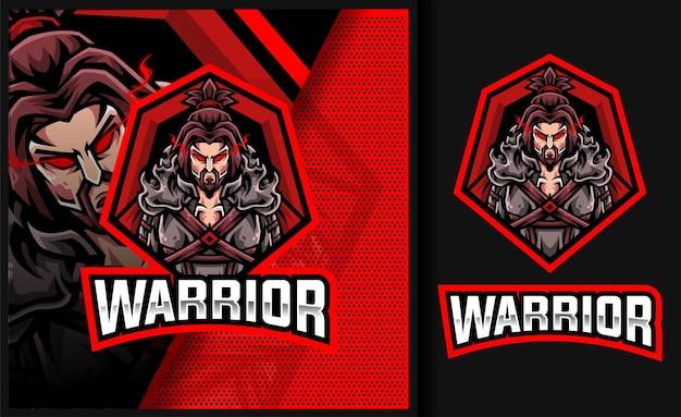 Logo della mascotte del gioco della leggenda del guerriero forte