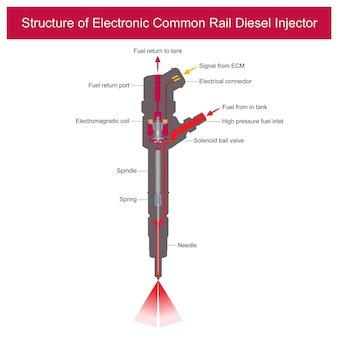 Struttura dell'iniettore diesel common rail elettronico l'illustrazione spiega una parte all'interno dell'iniettore diesel common rail elettronico