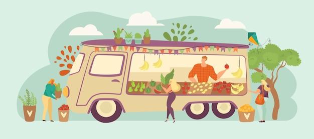 Persone struttura, uomo carattere, donna si dedicano al giardinaggio, pianta organica, verdura, illustrazione. colture ecologiche in crescita, commercio all'aperto di caricature, attività botaniche.