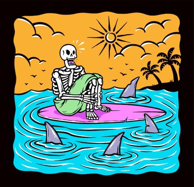 Bloccato nell'illustrazione del mare