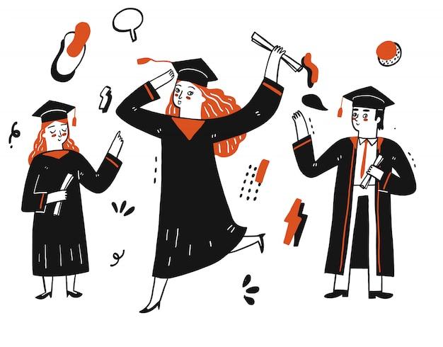 Gli studenti festeggiano per la laurea accademica o universitaria.