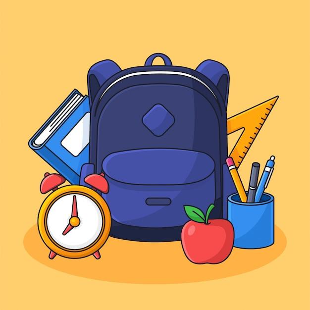 Lo zaino dello studente con gli strumenti di studio completi vector l'illustrazione per di nuovo a progettazione piana di stile del profilo del fumetto di concetto della scuola