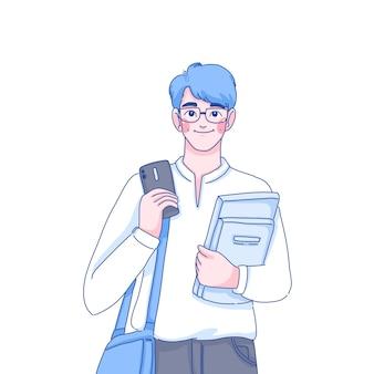 Illustrazione del carattere del ragazzo studente.