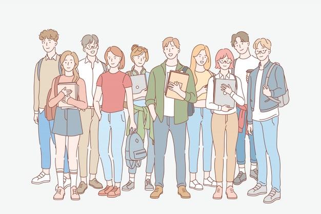 Studente, educazione, studio, concetto stabilito del college