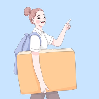 Illustrazione del fumetto del libro della holding della ragazza dello studente
