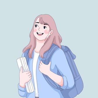 Ragazza dello studente che tiene libri di testo e fumetto della borsa.