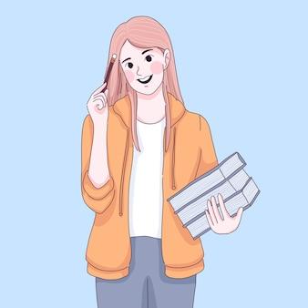La ragazza dello studente sta pensando, tenendo in mano un libro e una matita.