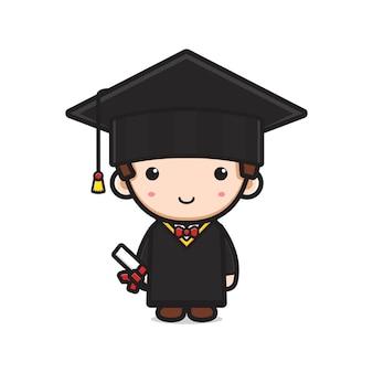Studente il giorno della laurea icona del fumetto illustrazione vettoriale. design piatto isolato in stile cartone animato isolated