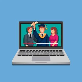 Laurea dello studente in linea sul computer portatile in streaming accademico nel concetto di pandemia nell'illustrazione del fumetto