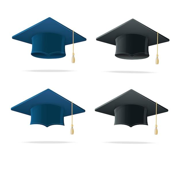 Insieme blu e nero del cappello dello studente. caps accademici simbolo finitura istruzione isolato su bianco. illustrazione vettoriale