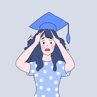 Mal di testa degli studenti con illustrazione di laurea