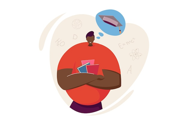 Studente in possesso di libri e pensando di laurearsi. personaggio maschile, berretto di laurea nell'illustrazione piana di vettore del fumetto. università, concetto educativo per banner, progettazione di siti web o pagina web di destinazione