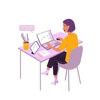 Lo studente impara a disegnare nell'editor grafico online a casa formazione online nel disegno