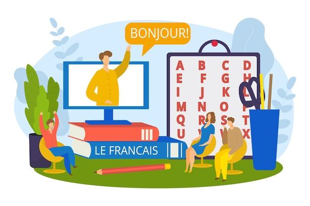 Lo studente impara il francese online, illustrazione vettoriale. studia la conoscenza della tecnologia internet, della comunicazione e del computer. personaggio uomo donna felice