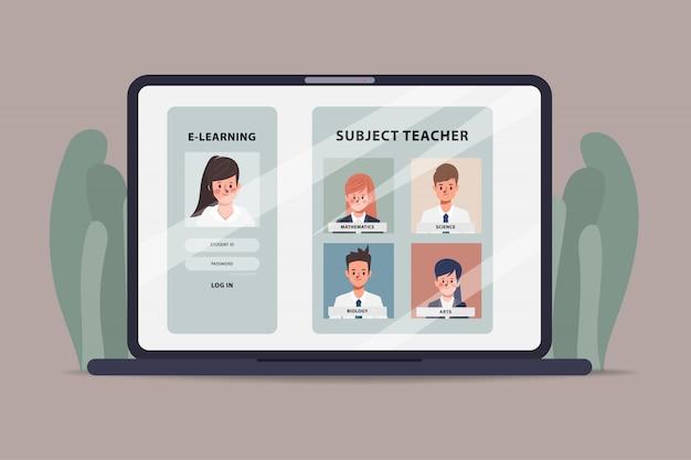 Studente che impara istruzione online con il computer portatile.