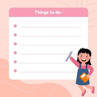 Studente per fare modello di elenco con illustrazione della ragazza