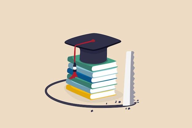 Insidia del prestito studentesco, costo e spesa della conoscenza o grande debito da ripagare per l'istruzione, concetto di ego di alto grado, bordo del mortaio del cappello di laurea sulla pila di libri che viene visto cadere.