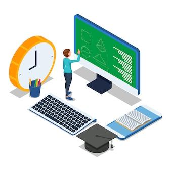 Lo studente fa esercizio online sul desktop del computer. vettore