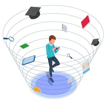 Libro di lettura degli studenti. maschio anti gravità intorno agli strumenti della scuola. illustrazione isometrica torna a scuola. vettore