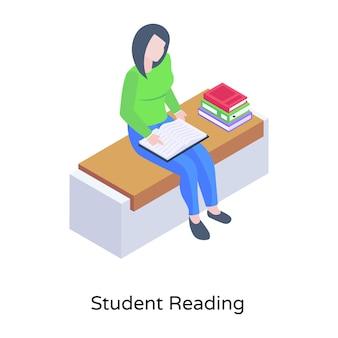 Studente che legge il libro sulla scrivania vettore isometrico