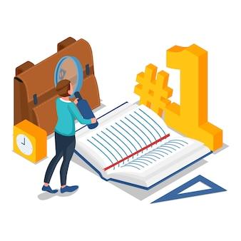 Lo studente cerca l'articolo nel libro per ottenere il grado a scuola. istruzione isometrica torna all'illustrazione scolastica. vettore