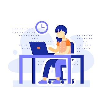Studente seduto alla scrivania, ragazza della scuola che fa i compiti dietro il computer, apprendimento online, istruzione a distanza