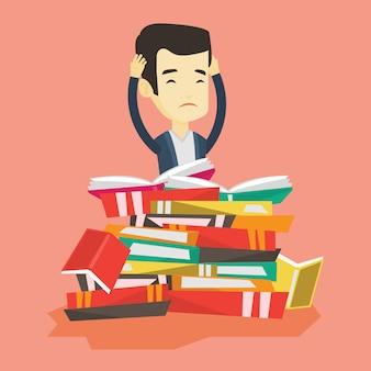 Studente seduto in un'enorme pila di libri.