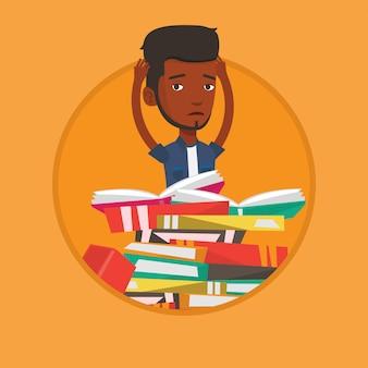 Studente seduto su un'enorme pila di libri.