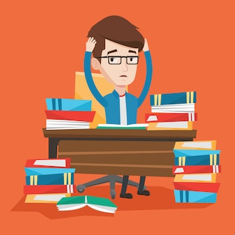 Studente seduto al tavolo con pile di libri.